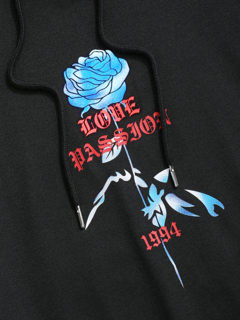 outfits Love Passion Flower Front Pocket Hoodie - BLACK S Mobile