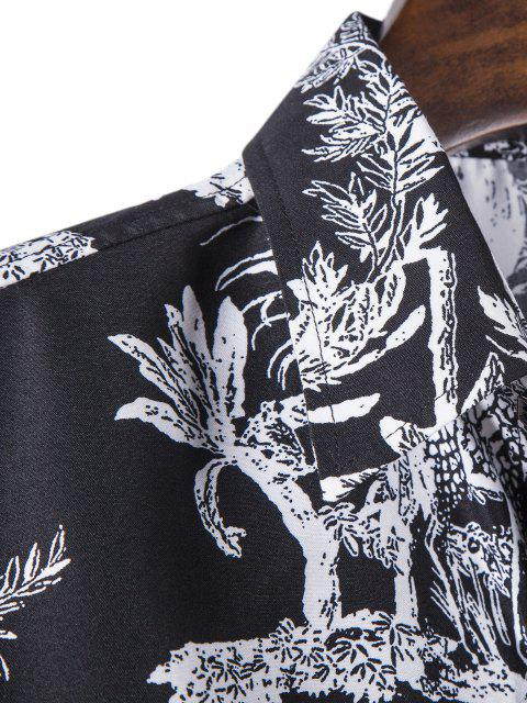 affordable Long Sleeve Jungle Animals Print Shirt - BLACK 3XL Mobile