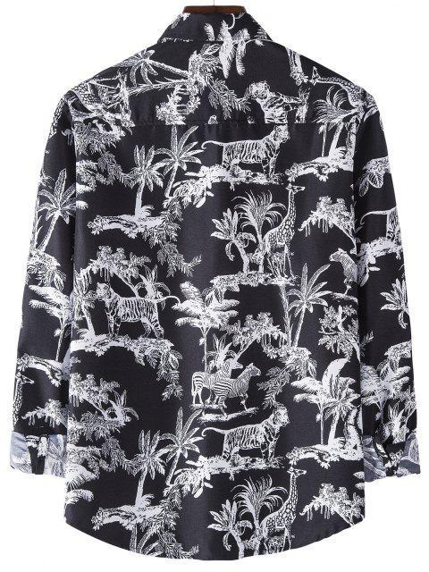 womens Long Sleeve Jungle Animals Print Shirt - BLACK M Mobile