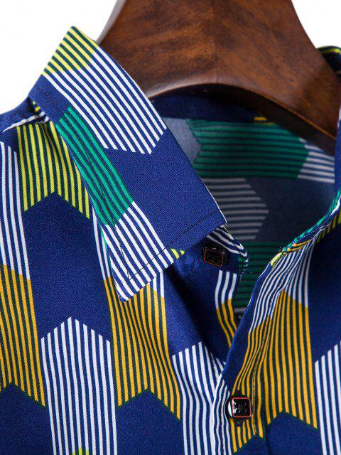 buy Long Sleeve Colorful Striped Print Shirt - COBALT BLUE XL Mobile