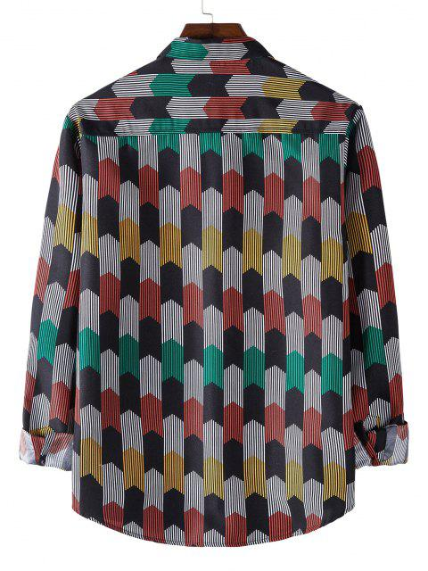 Long Sleeve Colorful Striped Print Shirt - أسود L Mobile