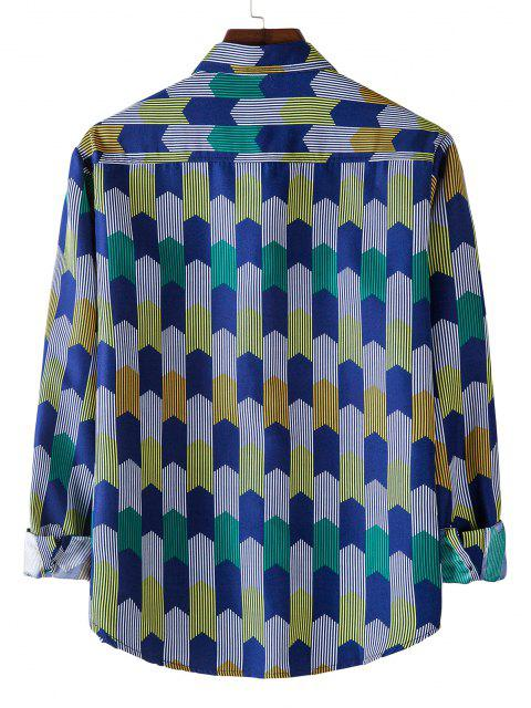 outfit Long Sleeve Colorful Striped Print Shirt - COBALT BLUE L Mobile