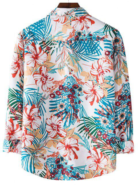 sale Tropical Flower Printed Long Sleeve Shirt - BLUE IVY 2XL Mobile