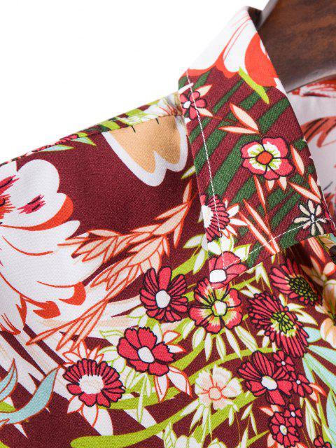 長袖熱帯花柄シャツ - 赤 2XL Mobile