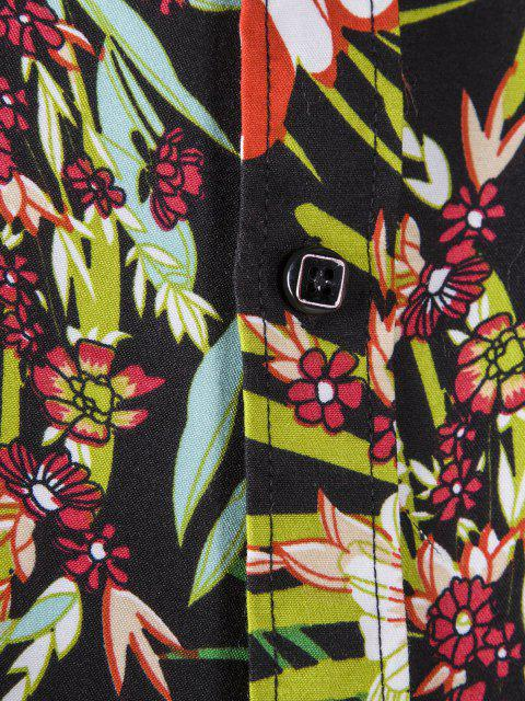 new Long Sleeve Tropical Flower Print Shirt - BLACK L Mobile
