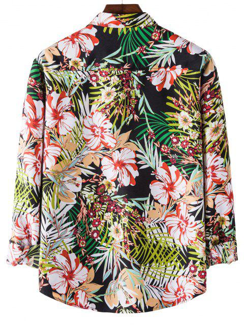 Camisa Manga Larga Estampado Floral Tropical - Negro M Mobile