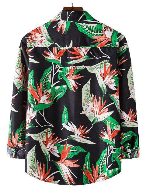 buy Long Sleeve Flower Leaves Print Shirt - BLACK L Mobile