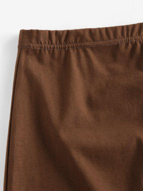 new ZAFUL Elastic Waist Solid Mini Skirt - COFFEE L Mobile