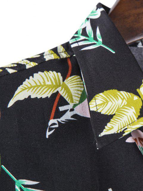 長袖葉プリントシャツ - ブラック M Mobile