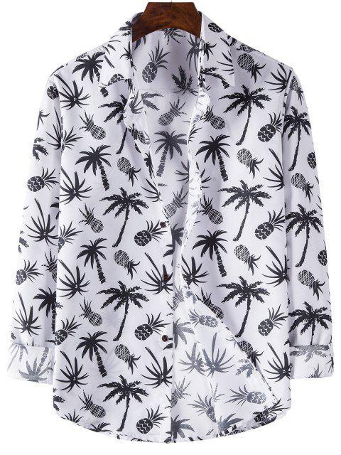 latest Palm Tree Pineapple Print Long Sleeve Shirt - WHITE M Mobile