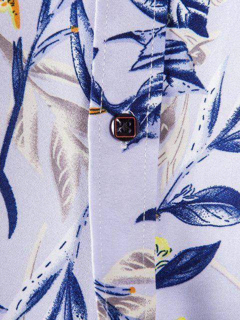 長袖葉の花プリントシャツ - モーブ 3XL Mobile