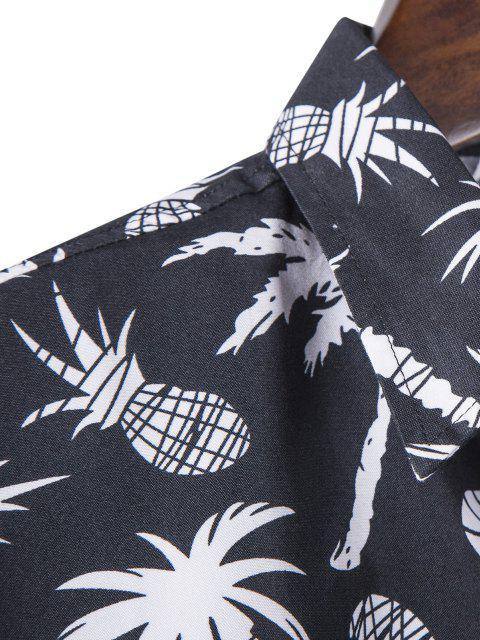 trendy Palm Tree Pineapple Print Long Sleeve Shirt - BLACK XL Mobile