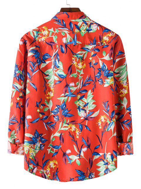 affordable Long Sleeve Leaves Flower Print Shirt - RED M Mobile