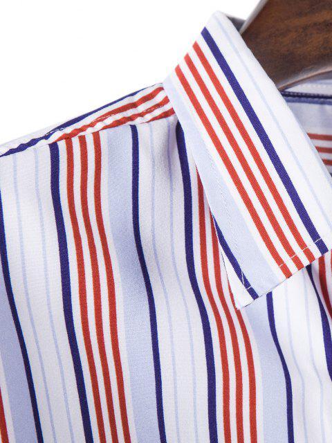lady Long Sleeve Striped Print Shirt - LIGHT PINK L Mobile