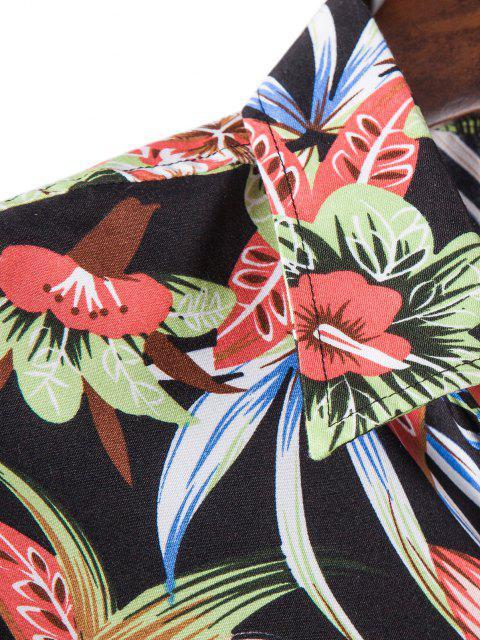 Camisa de Manga Larga con Estampado de Hojas Tropicales - Negro XL Mobile