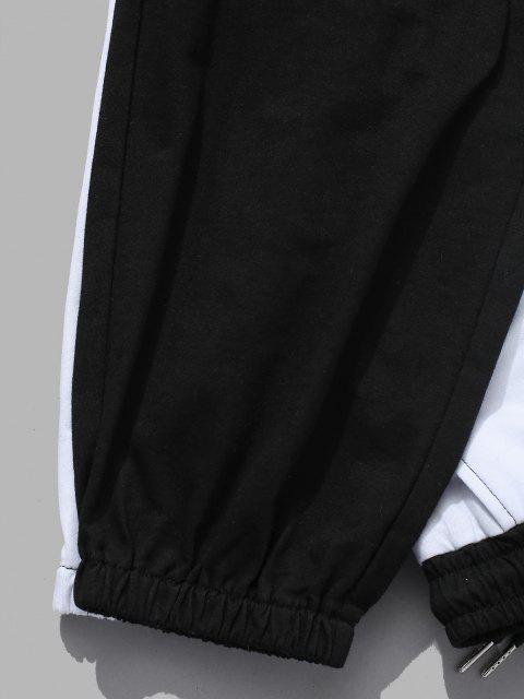 Ensemble de Sweat à Capuche Lettre en Deux Couleurs et de Pantalon Deux Pièces - Noir XL Mobile