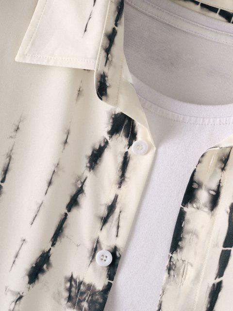 fashion Tie Dye Long Sleeve Shirt - WARM WHITE L Mobile
