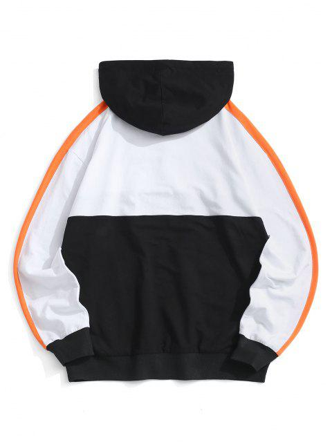 women Colorblock Letter American Flag Hoodie - WHITE L Mobile