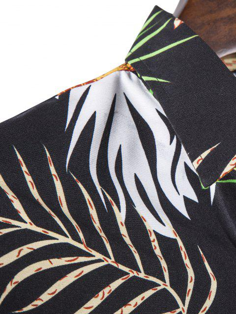 chic Long Sleeve Leaves Print Shirt - BLACK M Mobile