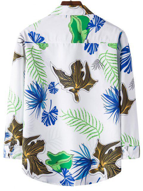 online Long Sleeve Leaves Print Shirt - WHITE L Mobile