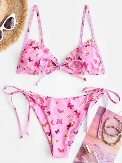 affordable ZAFUL Tie Side Butterfly Print Bowknot Frilled String Bikini Swimwear - LIGHT PINK M Mobile