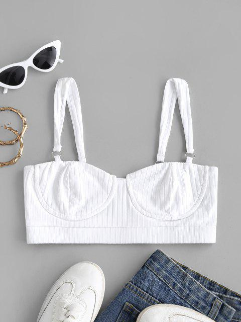 latest Rings Rib-knit Cropped Bustier Top - WHITE S Mobile