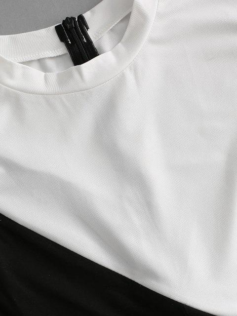 lady Colorblock Zipper Embellished Unitard Romper - BLACK S Mobile