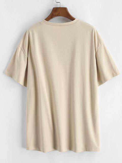latest Letter Print Basic Tee - LIGHT COFFEE M Mobile