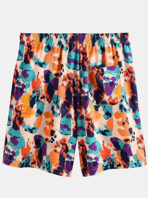 hot Colorful Print Elastic Waist Shorts - MULTI M Mobile