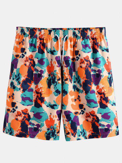 ladies Colorful Print Elastic Waist Shorts - MULTI S Mobile