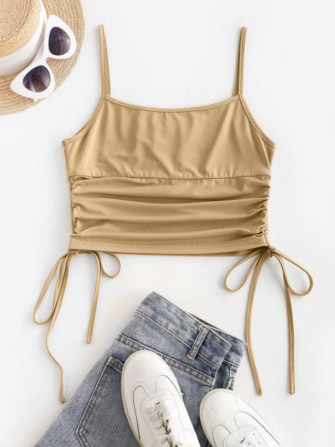 hot ZAFUL Cinched Side Ruched Bust Crop Top - TAN M Mobile