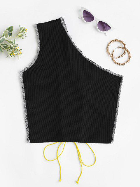 new One Shoulder Lace-up Rib-knit Topstitching Top - BLACK M Mobile