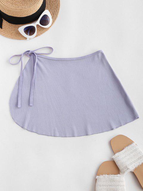 ZAFUL Ribbed Mini Wrap Beach Skirt - ضوء ارجواني M Mobile