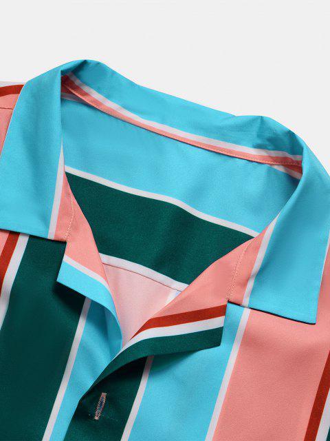 fashion Short Sleeve Colorblock Striped Shirt - MULTI S Mobile