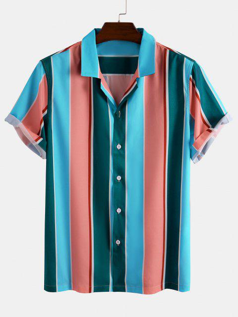 unique Short Sleeve Colorblock Striped Shirt - MULTI XL Mobile