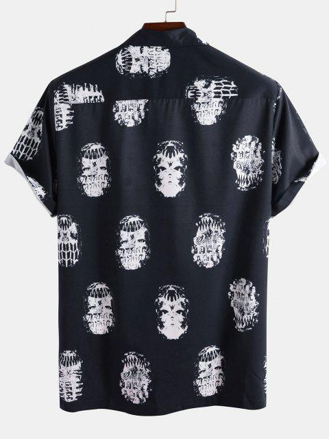 buy Skeleton Print Pocket Patch Short Sleeve Shirt - DEEP BLUE S Mobile