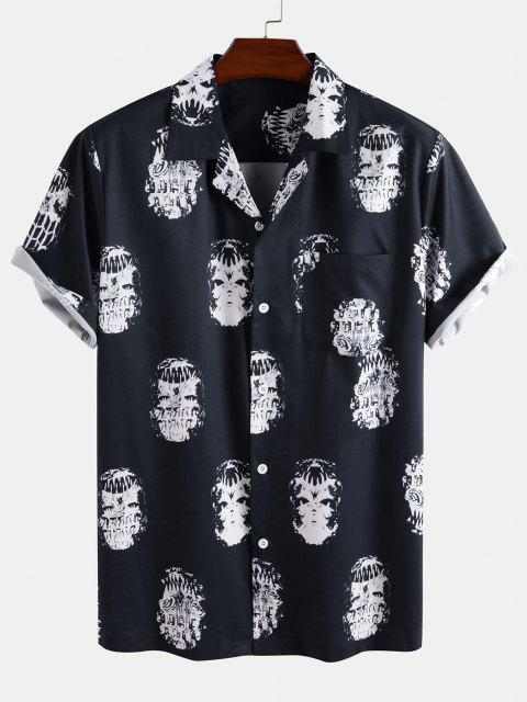 Skeleton Print Pocket Patch Short Sleeve Shirt - ازرق غامق L Mobile