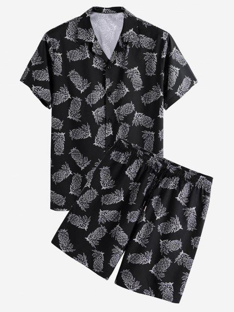 hot Pineapple Print Vacation Shirt And Shorts Set - BLACK 2XL Mobile