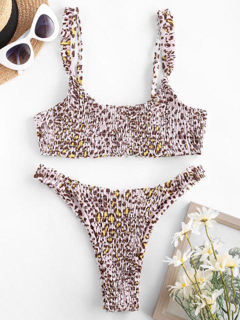 fashion ZAFUL Smocked Leopard Print Bikini Swimwear - LIGHT COFFEE S Mobile