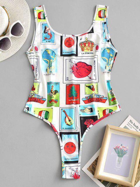 women Letter Sun Figure Sleeveless Bodysuit - WHITE L Mobile