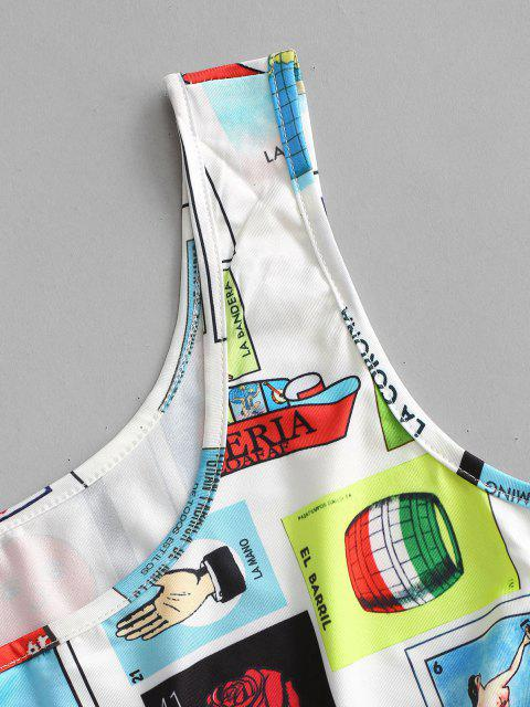 women's Letter Sun Figure Sleeveless Bodysuit - WHITE M Mobile