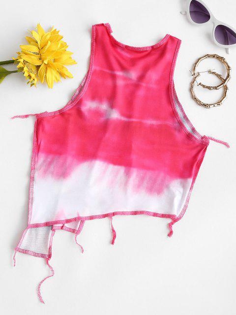 Maschen Panel Krawattenfärbender Asymmetrisches Crop Top - Hell-Pink L Mobile