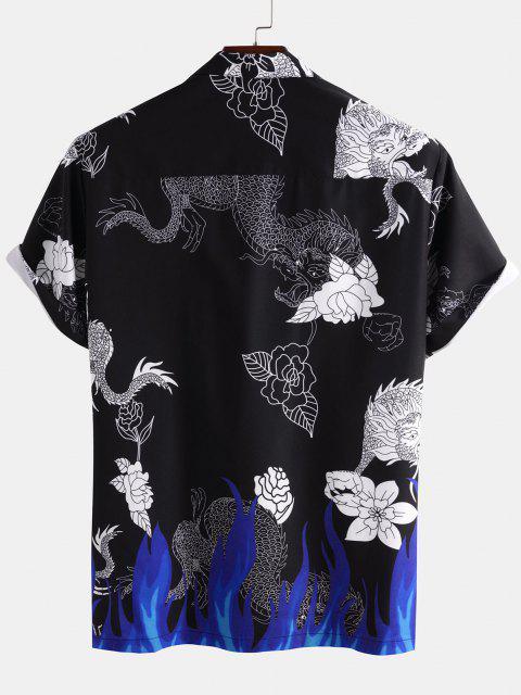 shops Dragon Flower Flame Print Short Sleeve Oriental Shirt - BLACK 2XL Mobile