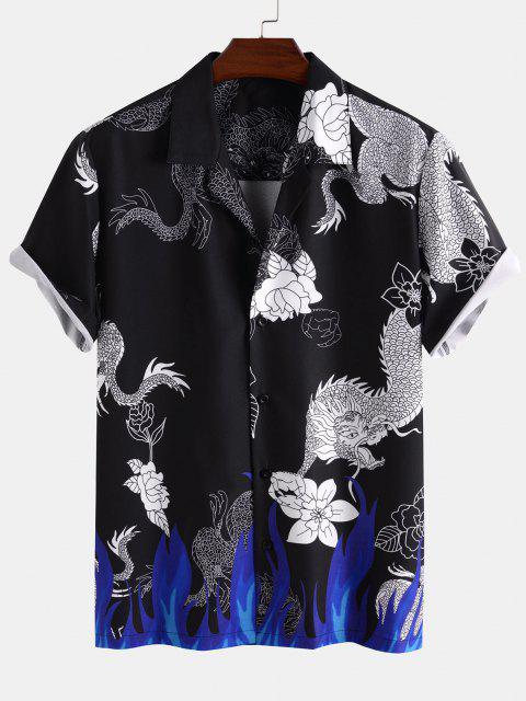 trendy Dragon Flower Flame Print Short Sleeve Oriental Shirt - BLACK M Mobile
