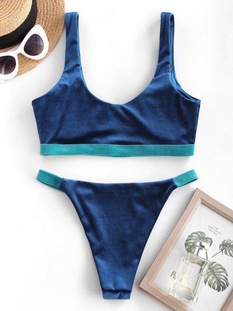 Costume da Bagno Bikini in Velluto a Blocchi di Colore di ZAFUL - Blu S Mobile