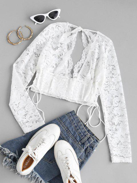 fashion Lace-up Open Back Tie Lace Crop Top - WHITE M Mobile