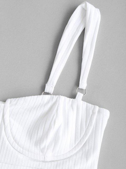 women's Rings Rib-knit Bustier Top and Wide Leg Pants - WHITE S Mobile