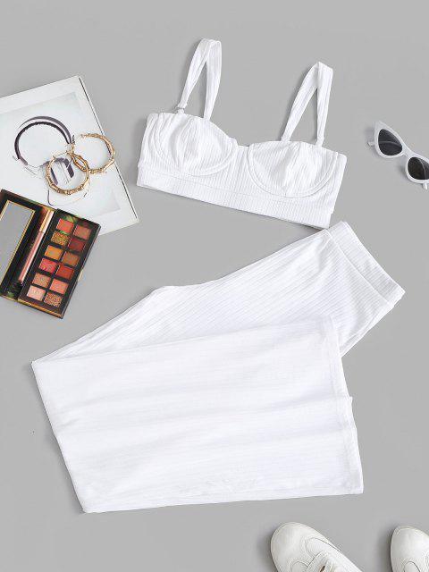 Haut Anneaux Côtelé en Tricot à Jambe Large et Pantalon à Jambe Large - Blanc L Mobile