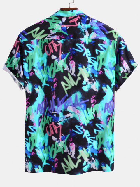 womens Short Sleeve Graffiti Print Shirt - BLUE S Mobile