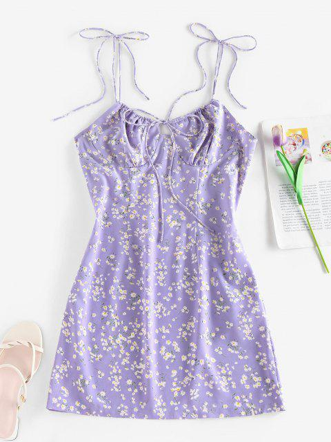 ZAFUL Gebundenes Ditsydruck Bowknot Schulter Kleid - Helles Lila XL Mobile